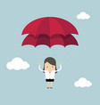 businesswoman with parachute in the sky vector image vector image