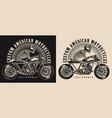 cafe racer motorcycle vintage emblem vector image vector image