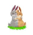cartoon bunny couple easter holiday vector image