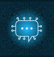chat bubble icon over blue circuit motherboard vector image vector image