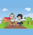 chillden boy and girl vector image vector image