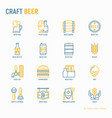 craft beer thin line icons set vector image
