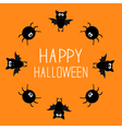 Cute bat and spider round frame Happy Halloween vector image