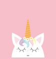cute unicorn head face rainbow hair white daisy vector image vector image