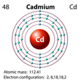 Diagram representation of the element cadmium vector image vector image