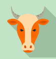 farm cow head icon flat style vector image vector image