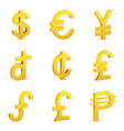 Finance icon currency gold button set vector image vector image