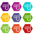goggles and tube for diving icon set color vector image vector image