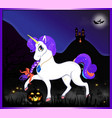 halloween cartoon of magical unicorn on night vector image vector image