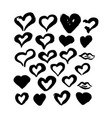 hand drawn ink brush hearts vector image vector image