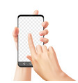 hands holding smartphone woman uses mobile phone vector image vector image