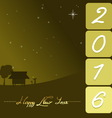 happy new year 2016 with rural night landscape vector image vector image