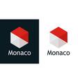 icon monaco flag on black and white vector image vector image