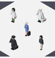 isometric human set of doctor detective hostess vector image vector image