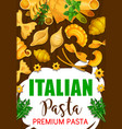 italian pasta in restaurant and cafe menu vector image vector image