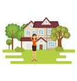 landscape with house and woman scene vector image