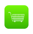 large empty supermarket cart icon digital green vector image vector image