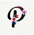 letter p watercolor floral background vector image vector image