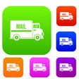 mail truck set color collection vector image vector image