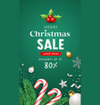 merry christmas sale with santa staff and pine vector image vector image