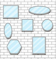 Mirror set design form on brick wall vector image vector image