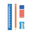 school stationery wooden pencil sharpener ruler vector image vector image