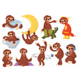 set cartoon sloths collection cute sloths vector image vector image
