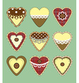 Set of vintage hearts with fabric texture vector image vector image