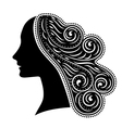 silhouette of woman with ornamental hair vector image vector image