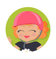 smiling girl in pink helmet simple cartoon style vector image vector image