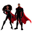 superhero couple black on white vector image vector image
