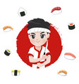 sushi chef logo vector image vector image