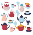 teapot and cup collection cartoon water kettle vector image