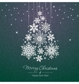 White snowflake Christmas tree on green background vector image vector image