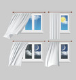 windows with white curtains vector image vector image