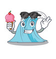 with ice cream waves of water graphic character vector image