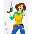 worker woman with drill vector image vector image