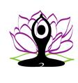 Yoga and lotus flower logo vector image