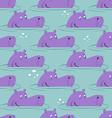 Hippo in water seamless pattern Good hippopotamus vector image