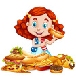 American girl and American food vector image vector image