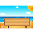 An empty wooden signage at the beach vector image vector image