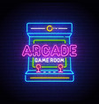 arcade games neon sign game logo neon vector image vector image