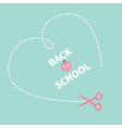 Big dash heart on the blue scissors Back to school vector image vector image