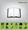 book sign black icon at gray background vector image vector image