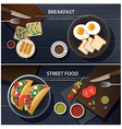 breakfast and street food banner vector image