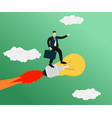 businessman flying with standing idea rocket vector image vector image