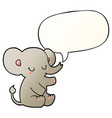cartoon elephant and speech bubble in smooth vector image vector image