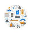 cartoon oil petroleum processing round design vector image vector image