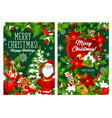 christmas trees decorations and santa vector image vector image