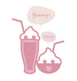 cute ice cream milkshake with straws and speech vector image